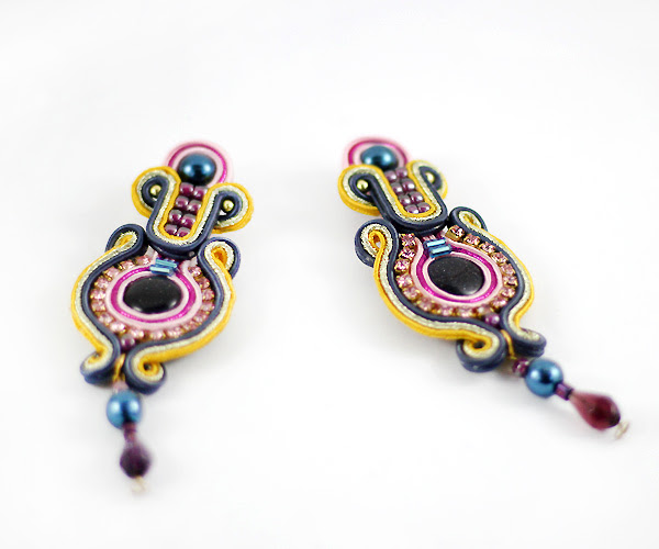 Handmade, soutache, earrings, Colorful, jewelry, Handcrafted, jewelry, blue sand,
