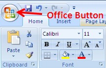 office button excel 2016