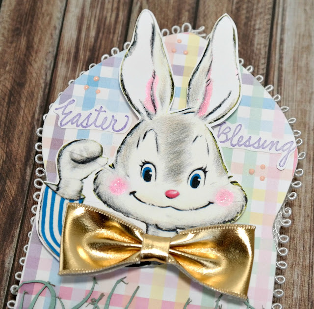 Glittered Easter Bunny Die-Cut and Stamped Sentiment on Arch by Dana Tatar for Tando Creative