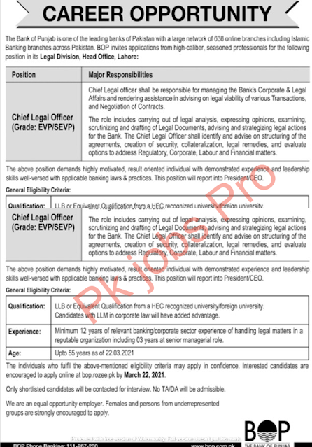 The Bank of Punjab Jobs 2021