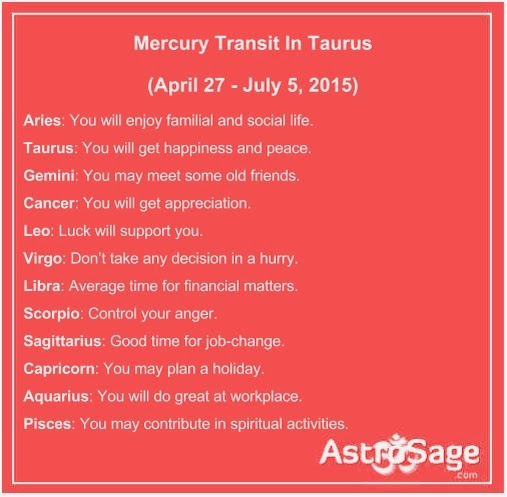 Mercury transit in Taurus will affect your life directly or indirectly..