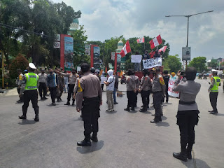 Aksi Penolakan UU Omnibuslaw, Polres Pangkep Turunkan 90 Personil Pengamanan