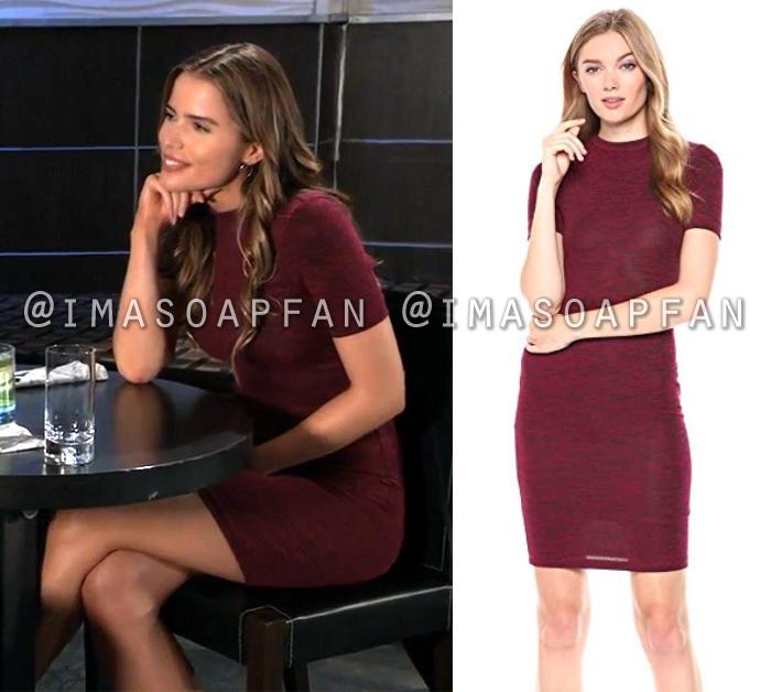 Sasha Gilmore, Sofia Mattsson, Marled Red Short Sleeve Mini Dress, General Hospital, GH