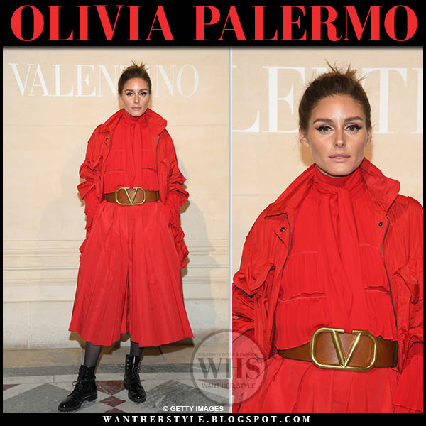 Olivia Palermo in red jacket, red cropped valentino jumpsuit and black dior rebelle ankle boots paris fashion week outfit january 23
