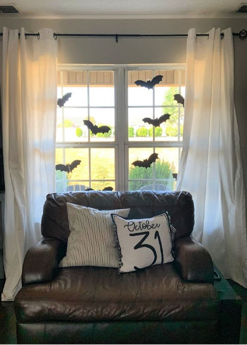 Halloween Home Tour - bats in the window