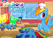 Rainbow Dash cooking M&M cake
