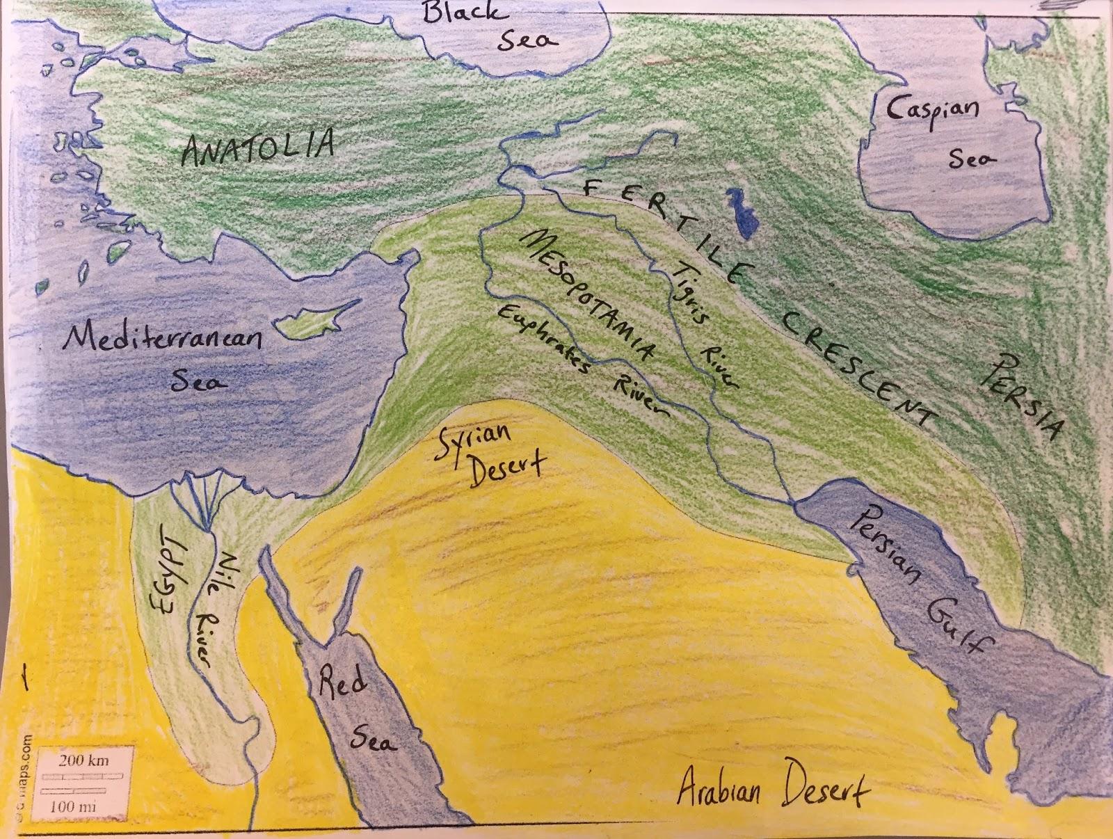 Ancient Near East Map Fertile Crescent Rivers