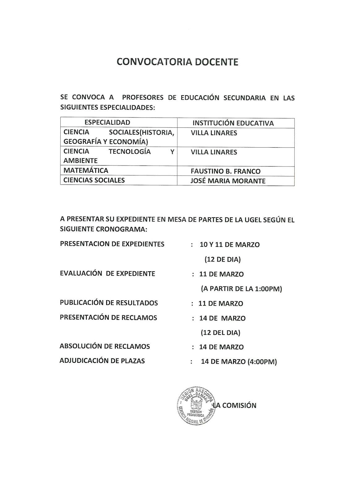 Contrato docente 2016 plazas vacantes de ciencias Convocatoria para las plazas docentes 2016
