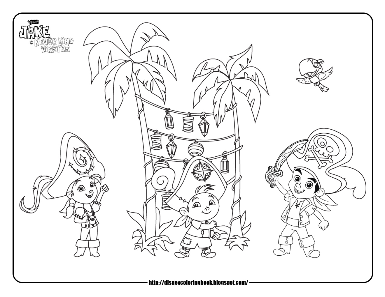 Jake and the neverland pirates 3 free disney coloring for Jake the pirate coloring pages