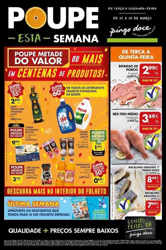 """Folheto Semanal Pingo Doce """"Poupe esta semana!"""" - de 2 a 8 de março"""