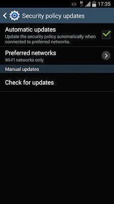 Screenshot Samsung Security Policy Update - Apcoid