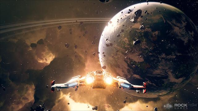 Un planeta y una nave en la galaxia Andromeda en Mass Effect Andromeda, el videojuego de BioWare