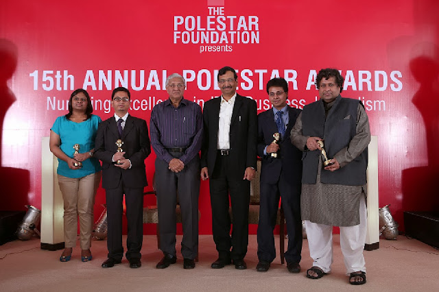 15th PoleStar Award Winners - From left to right: Geetika Rustagi from Mint, Ayushman Baruah from InformationWeek (India), R Gopalakrishnan, Executive Director, Tata Sons, Arun Jain, Founder, PoleStar Foundation and Chairman & Group CEO, Polaris Financial Technology Limited, Srikanth RP, from InformationWeek (India) and  Kandula Subramaniam from Outlook Business