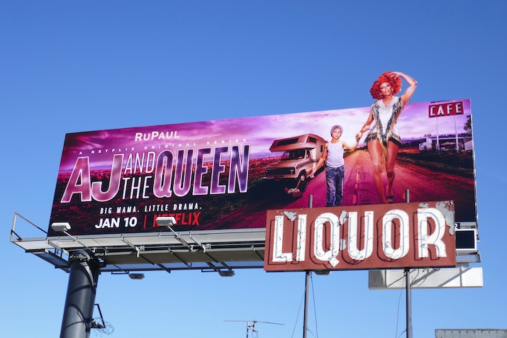 AJ and the Queen cut-out extension billboard