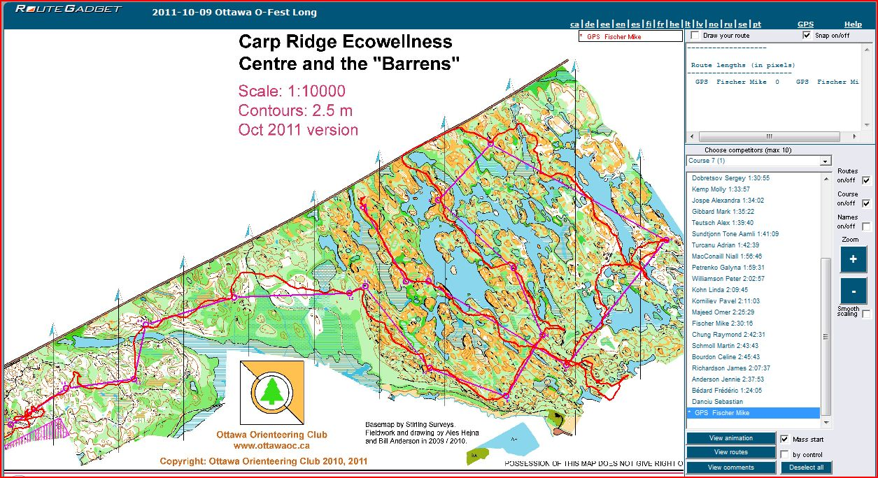 Maps of Carp Ridge Ecowellness Centre - orienteering