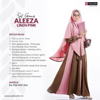 Koleksi Gamis Syari Muslimah Aleeza Linen Pink Set Syari by AULIA Fashion