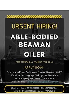 SEAMAN JOBS VACANCY - Available Maritime Agency, Inc. Urgent hiring Filipino seaman crew work at oil tanker vessel joining onboard January 2019