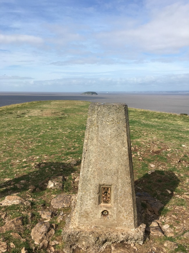Brean-DoWn-trigpoint-with-steep-holm-in-background