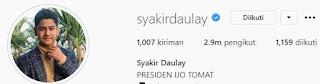 IG Syakir Daulay Bercentang Biru