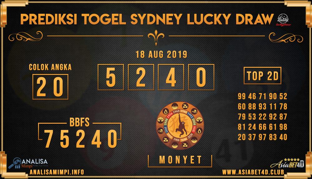 PREDIKSI TOGEL SYDNEY LUCKY DRAW 18 AUG 2019