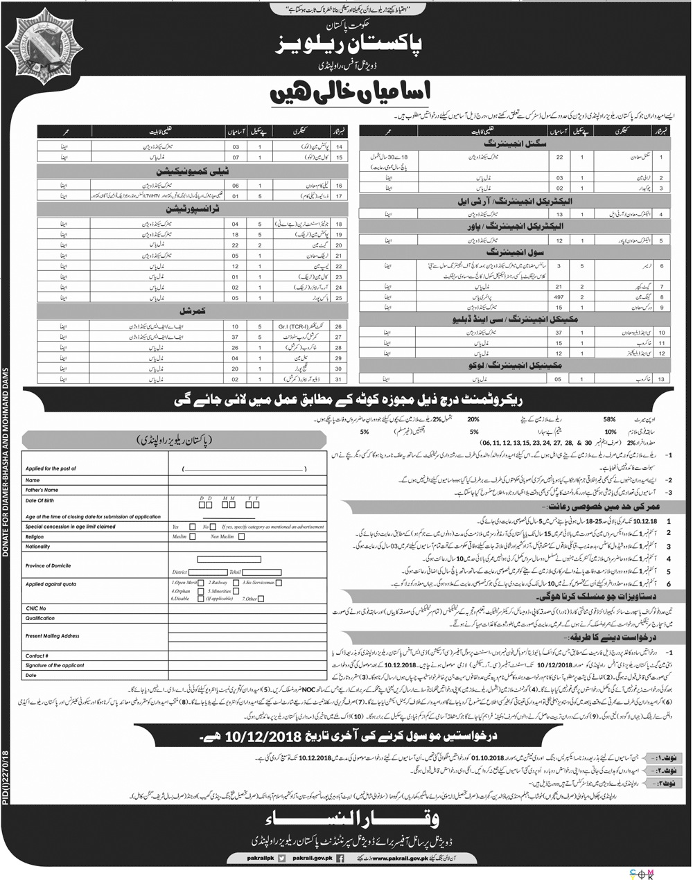 New Jobs In Pakistan Railway  DO Rawalpindi