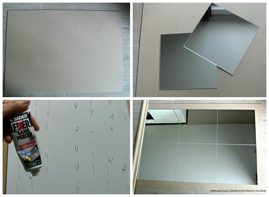 Montaje de espejo de cuarterones diy