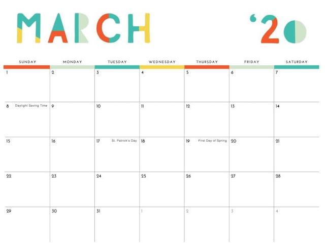 Calendarios para niños de marzo del 2020