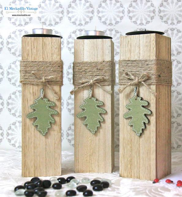Portavelas grande de madera  (Mod. Forest)
