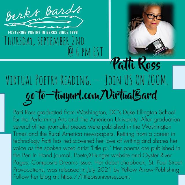Poet Patti Ross - September 2, 2021 poetry reading with Berks Bards