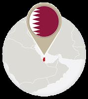 Qatari flag and map