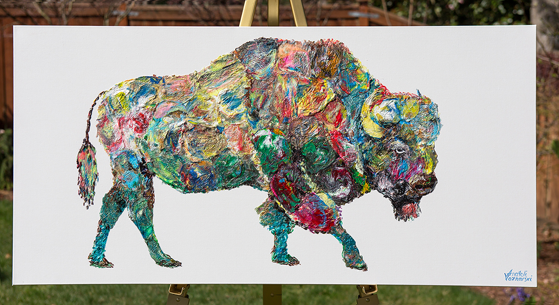 buffalo painting,buffalo unique texture, buffalo voznarski, buffalo pop art, abstract buffalo painting, buffalo on canvas, buffalo oil , buffalo acrylic,buffalo impasto,  buffalo 3d textured,