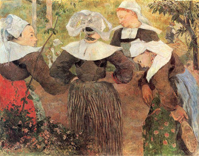 Foto a la pintura El Baile de las 4 Bretonas de Paul Gauguin