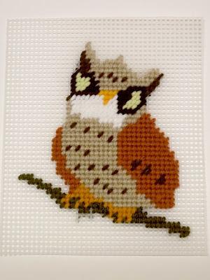 owl needlepoint in progress
