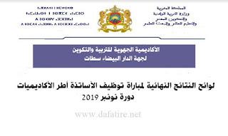النتائج النهائية لمباراة توظيف الأساتذة دورة نونبر2019الدار البيضاء سطات