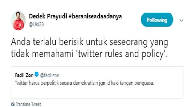 Postingan Dedek Prayudi-Fadli Zon