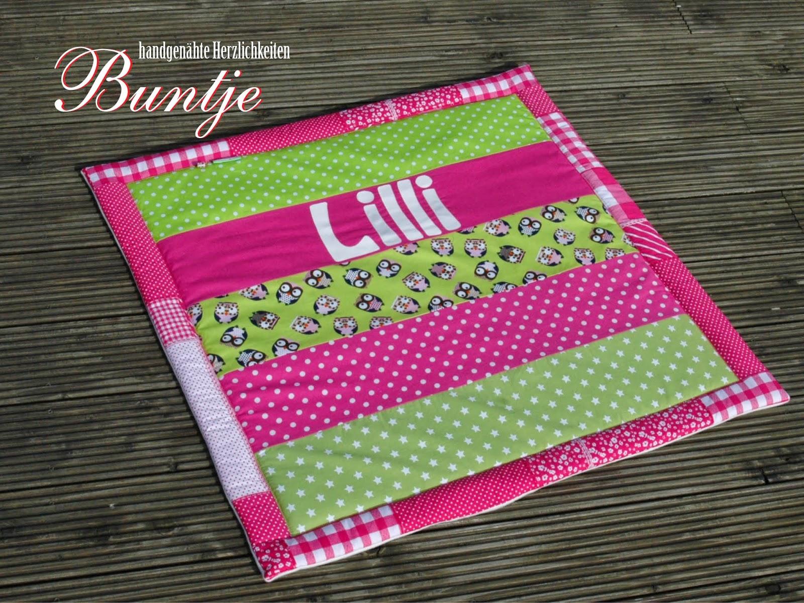Krabbeldecke Kuscheldecke Decke Baby Name Geschenk Geburt Taufe Mädchen pink grün Eulen Lilli Fleece Baumwolle Buntje nähen