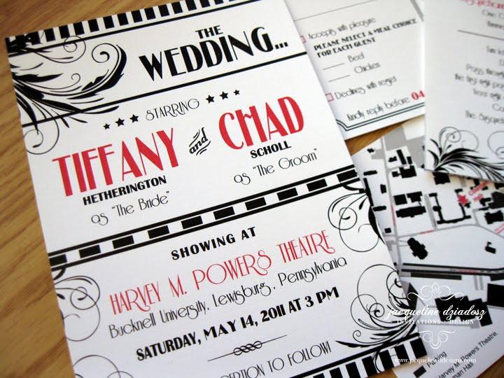 Vintage Glam Wedding Invitations: Tiffany & Chad's Old Hollywood Glam Invites