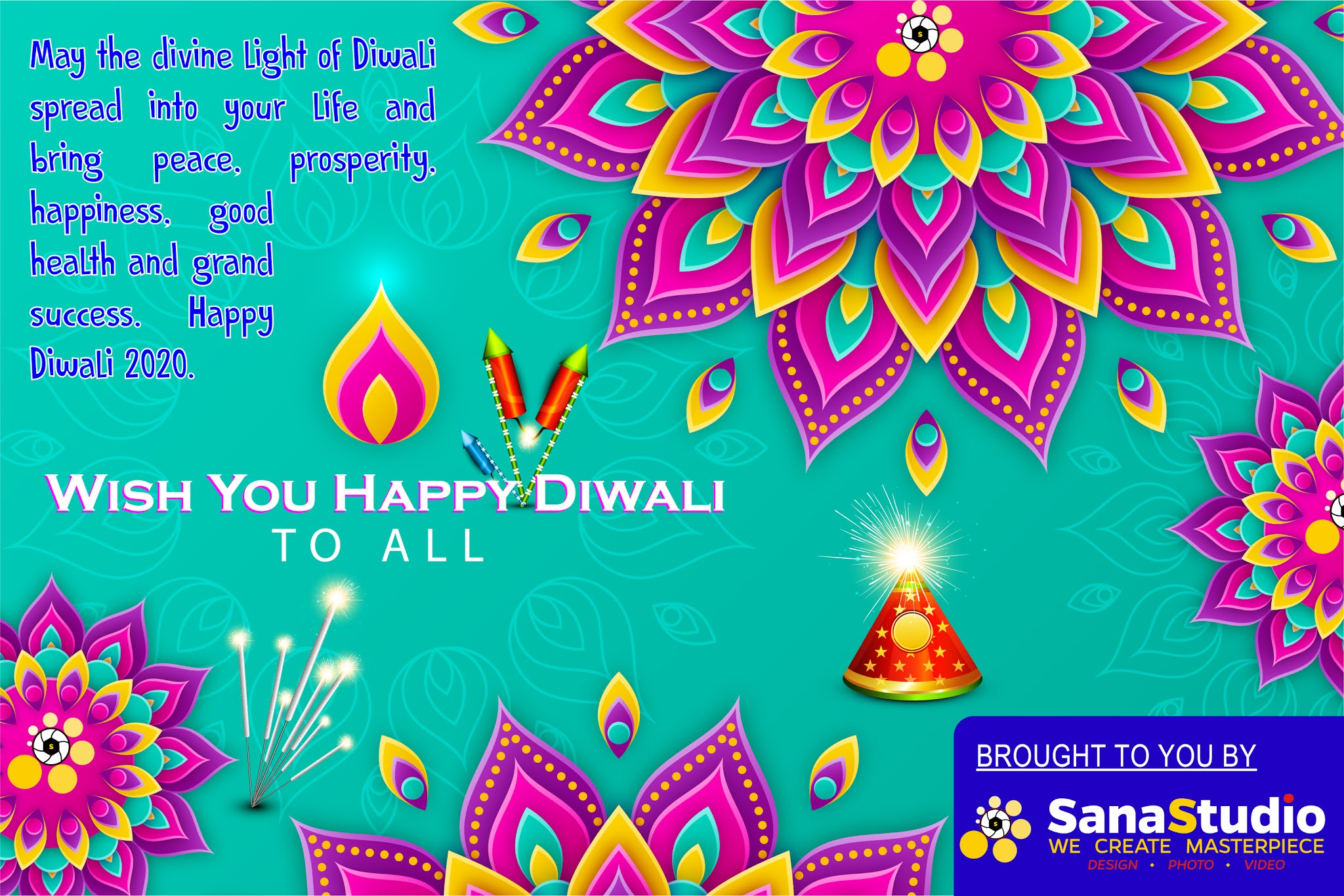 Sana Studio Wishing you a happy Diwali. We hope this Diwali be an awesome celebration for you and you be blessed with wealth and success always.💐💐🎁🎇🎆💥
