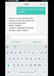 Cara Registrasi kartu SIMCARD sms ke 4444