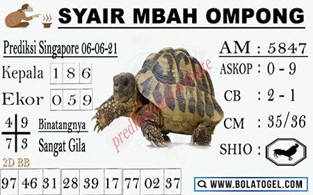 Syair Mbah Ompong SGP Minggu 06-Jun-2021