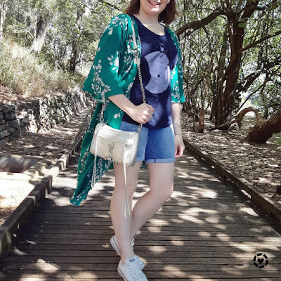 awayfromblue Instagram | Jeanswest Delilah Long Line Kimono in Green Floral  with bermuda denim shorts converse mini mac bag