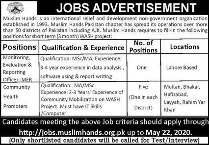 Muslim Hands International Relief and Development Organization Pakistan Jobs