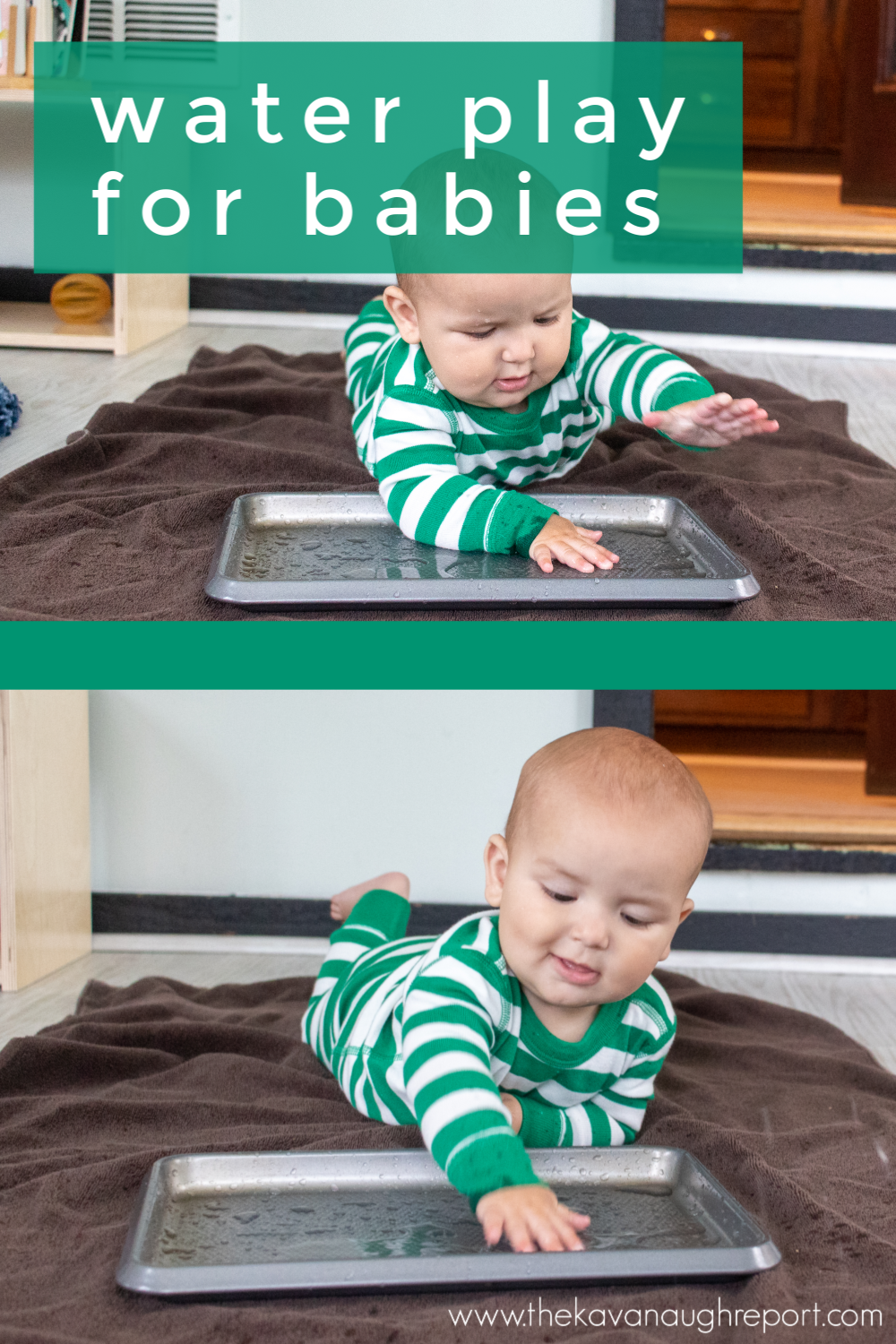 Babies learn through their senses. This easy Montessori friendly baby activity was a fun sensory experience allowing babies to learn about water.