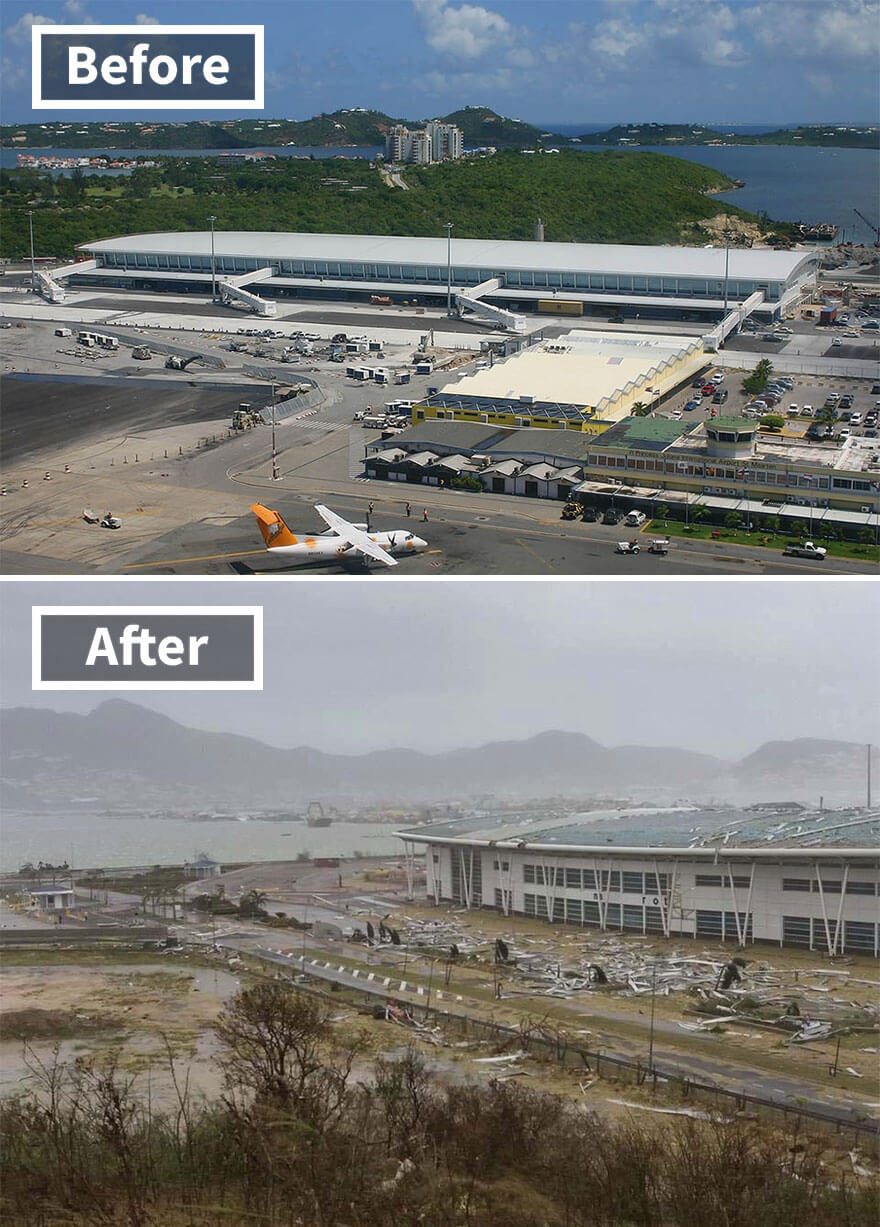 30 Shocking Pictures That Show How Catastrophic Hurricane Irma Is - Princess Juliana Airport (Before And After Irma Damage)