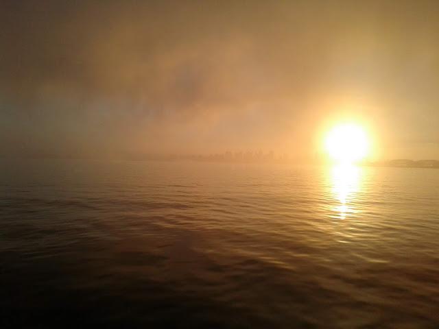 Foggy San Diego Bay sunrise