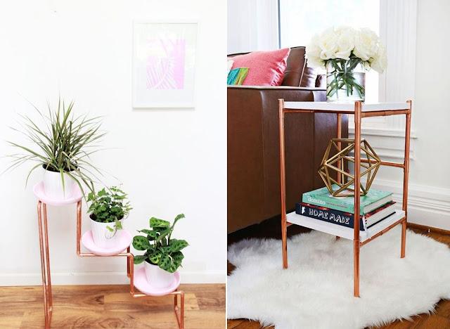 DIY: móveis e objetos de decoração com canos de cobre