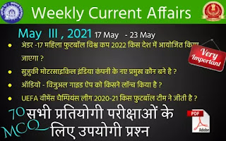 Weekly Current Affairs May 3rd Week 2021