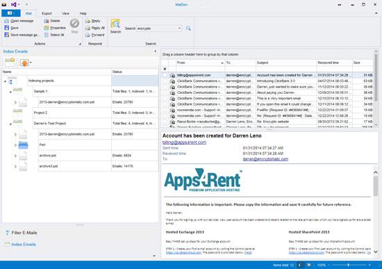 Screenshot Encryptomatic MailDex 2019 v1.3.8.4 Full Version