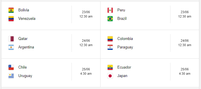 Copa America 2019 Group C Fixture Indian Time