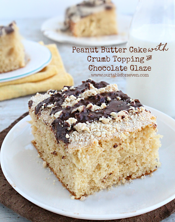 Peanut Butter Cake with Crumb Topping and Chocolate Glaze